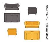 sofa set flat vector... | Shutterstock .eps vector #437584909