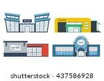 flat supermarket. shopping mall ... | Shutterstock .eps vector #437586928