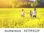 happy children friends sisters... | Shutterstock . vector #437593129