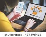 data backup files online... | Shutterstock . vector #437595418