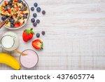 fresh fruits with muesli milk... | Shutterstock . vector #437605774