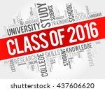 class of 2016 word cloud ... | Shutterstock .eps vector #437606620