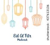 eid mubarak vector card.... | Shutterstock .eps vector #437613136