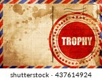 trophy  red grunge stamp on an...