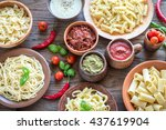 pasta with different kinds of... | Shutterstock . vector #437619904