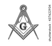 masonic freemasonry emblem icon ... | Shutterstock . vector #437622934