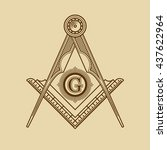 masonic freemasonry emblem icon ... | Shutterstock . vector #437622964