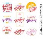 happy birthday   card  sticker... | Shutterstock .eps vector #437625724