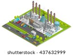 chemical plant isometric... | Shutterstock .eps vector #437632999
