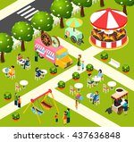 street food truck in fairy... | Shutterstock .eps vector #437636848