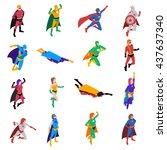 heroic powerful superhero... | Shutterstock .eps vector #437637340