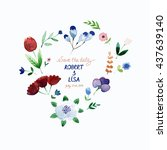 watercolor floral heart  ... | Shutterstock . vector #437639140