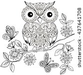 decorative owl on a flowering... | Shutterstock .eps vector #437641708