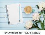 morning coffee mug  empty... | Shutterstock . vector #437642839