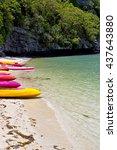 boat coastline of a green... | Shutterstock . vector #437643880