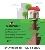 earthquake insurance colourful... | Shutterstock .eps vector #437651809