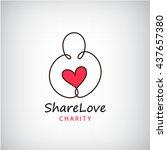 vector charity logo. heart in... | Shutterstock .eps vector #437657380