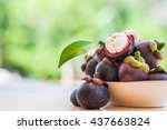 mangosteen and cross section... | Shutterstock . vector #437663824