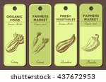 hand drawn labels set with... | Shutterstock . vector #437672953