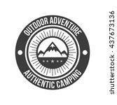 hipster mountain logo. hipster... | Shutterstock .eps vector #437673136