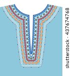 neck line ethnic embroidery.... | Shutterstock .eps vector #437674768