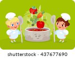 two cooks mixed ingredients for ... | Shutterstock .eps vector #437677690
