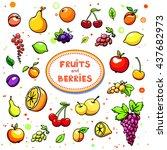 collection of cartoon juicy... | Shutterstock .eps vector #437682973