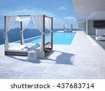 luxury swimming pool in... | Shutterstock . vector #437683714