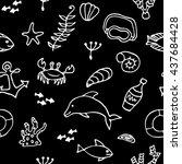 sea life set doodle elements ...   Shutterstock .eps vector #437684428