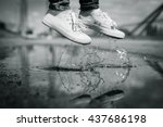 foots of a woman in a sport... | Shutterstock . vector #437686198