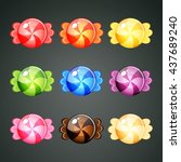 9 colourful wrapped candies... | Shutterstock .eps vector #437689240