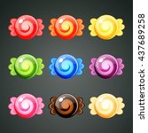 9 colourful wrapped candies... | Shutterstock .eps vector #437689258