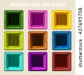 square wooden box app icons in...