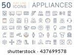 set vector line icons in flat... | Shutterstock .eps vector #437699578