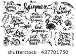 hand drawn ink summer design... | Shutterstock .eps vector #437701750