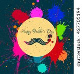 happy fathers day and mustache... | Shutterstock .eps vector #437705194