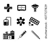 hospital   healthcare icon set | Shutterstock .eps vector #437727829