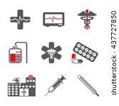 hospital   healthcare icon set | Shutterstock .eps vector #437727850