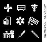 hospital   healthcare icon set | Shutterstock .eps vector #437727889