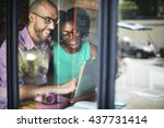 brainstorming connection laptop ...   Shutterstock . vector #437731414