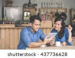 portrait of two young business... | Shutterstock . vector #437736628