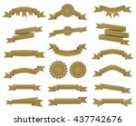embroidered bronze ribbons and... | Shutterstock .eps vector #437742676