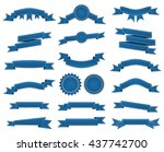 embroidered blue ribbons and... | Shutterstock .eps vector #437742700
