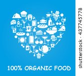 organic food icons in heart... | Shutterstock . vector #437745778