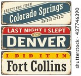 vintage metal signs collection... | Shutterstock .eps vector #437746390