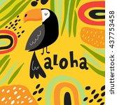 cute toucan vector card | Shutterstock .eps vector #437753458