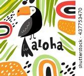 cute toucan vector card | Shutterstock .eps vector #437753470