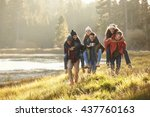six friends have fun... | Shutterstock . vector #437760163