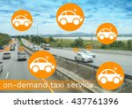 taxi on demand concept  concept ... | Shutterstock . vector #437761396