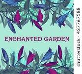 enchanted garden . summer... | Shutterstock .eps vector #437767588